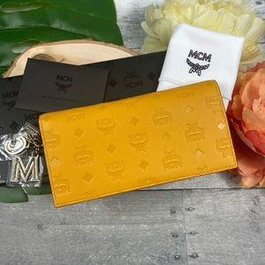 MCM Klara two fold wallet monogram leather mango